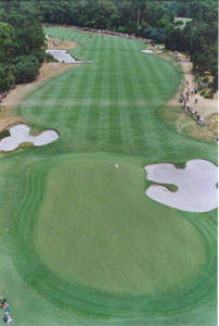 Aerial view of the 8th hole during the 2001 World Match Play Championships