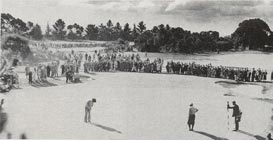 1936 Australian Open. Gene Sarazen (U.S.A) pictured on the right won the tournament and described this hole as on the best 18 holes in the world.
